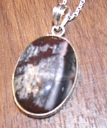 Natural coconut Jasper gemstone STERLING SILVER  Pendant +Chain - $23.99
