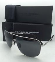 New PORSCHE DESIGN Aviator Sunglasses P'8607 D 63-13 Silver Frames w/Grey Lenses