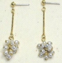 Vintage Faux Pearl and Gold Tone Dangle Earrings - $1.00
