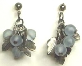 Vintage Blue Glass & Silver Tone Metal Earrings - $1.00