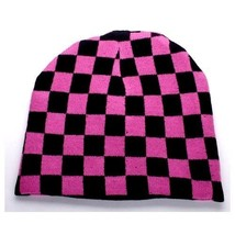 NEW PUNK ROCK WINTER SKI SNOWBOARDING HAT CAP ~ PINK BLACK CHECKERS BEAN... - $5.90 CAD