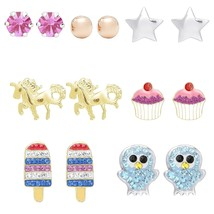 Gold & Sterling Silver Crystal Stud Earrings Set for Girls 7prs with Gif... - $68.16