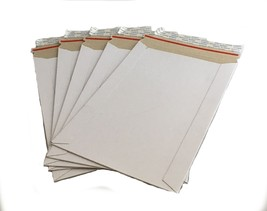 "50 - 6x9 6""x9""  Stay Flat Rigid Mailer Cardboard White Envelope Photo 35... - $16.99"