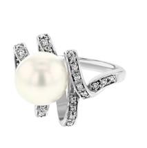 14K White Gold 13.41CTW Pearl&Diamond Pearl Ring - $366.00