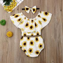 2019 Summer Sunflower Newborn Baby Girl Clothes 3Pcs Sunflower Ruffle Crop Tops+ image 4