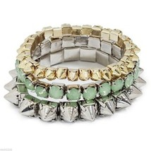NWT Guess Gold & Silver Metals Spikes-Green Sto... - $29.69