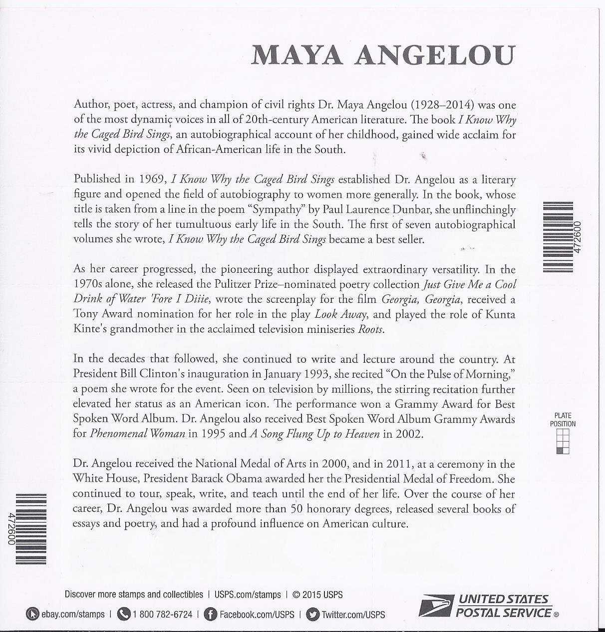 MAYA ANGELOU  2015 S/SHEET - USA MINT FOREVER Stamps, Imperfect Printing