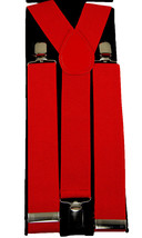 "Unisex Clip-on Braces Elastic Wide ""Red"" Y Back Suspender - $3.95"