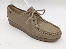 SAS Tan Beige Leather Moc Toe Siesta Lace Up Comfort Flats size 8.5W Wid... - $39.95