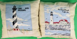 """'Pair of Hand Petite-Needlepoint """"Lighthouse"""" c.1970's Pillows' - $500.00"""