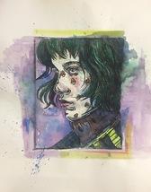 """""""Ash"""" Linocut And Watercolor - $35.00"""