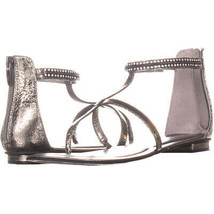 Marc Fisher Markita Flat Ankle Strap Sandals 159, PewterSynthetic, 7.5 US - $33.59