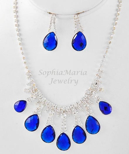 Primary image for Royal blue tear drop crystal necklace set for prom wedding bride bridesmaid