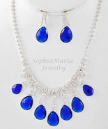 Royal blue tear drop crystal necklace set for prom wedding bride bridesmaid - $16.82