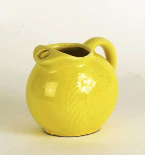 Vintage Yellow Pitcher with Raised Design
