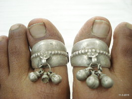 vintage silver toe ring antique toe ring tribal old silver big toe rings - $197.01