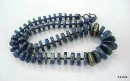 vintage lapis & metal beads necklace from rajasthan india - $98.01