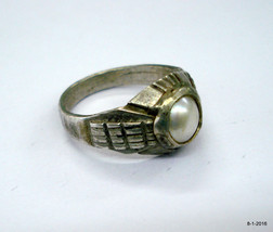 Vintage Ring Antique tribal old silver pearl gemstone ring handmade Ring - $67.32