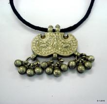 vintage antique tribal old silver necklace pendant amulet hindu god krishana - $107.91