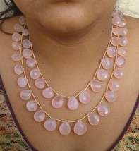 rose quartz faceted beads drop necklace strand 2 line - $147.51