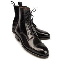 Handmade Men Black cap toe laceup boot, Men black ankle leather boots, Mens boot - $179.99