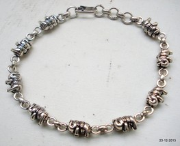 traditional elephant design silver cuff bracelet handmade jewellery india - $98.01