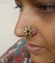 18k vintage antique gold nose stud nosepin old rabri belly dance jewelry - $287.10
