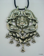 Traditional Design Sterling Silver Necklace Pendant Hindu God Lord Ganesha - $246.51
