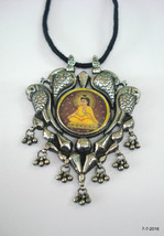 Traditional Design Sterling Silver Necklace Painting Pendant Ethnic jewe... - $226.71