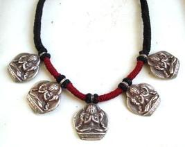sterling silver pendant necklace hindu god vishnu handmade jewelry - $216.81
