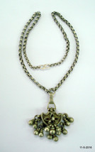 vintage antique tribal old silver necklace khol box pendant chain jewellery - $197.01
