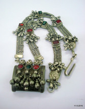 vintage antique tribal old silver necklace amulet box pendant rajasthan ... - $464.31