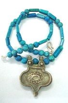 vintage antique old silver pendant necklace beads turquoise gemstone - $226.71