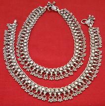 vintage antique tribal old silver anklet feet bracelet belly dance jewelry - $385.11
