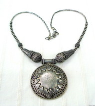 vintage antique sterling silver necklace pendant tribal jewellery - $236.61