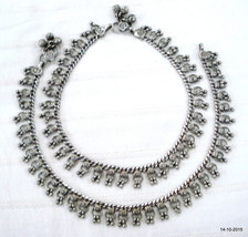 vintage antique tribal old silver anklet feet bracelet ankle chain pair - $197.01