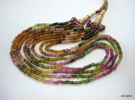 vintage tourmaline gemstone faceted beads necklace strand 4 line india - $143.55