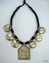 vintage antique tribal old silver necklace hindu goddess durga disk pendant - $255.42