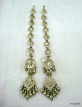 vintage antique tribal old silver earrings with hair chain belly dance j... - $276.21