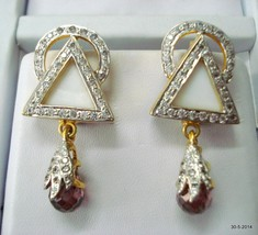 ethnic 18k gold earrings handmade gold earring pair jewelry india - $1,381.05