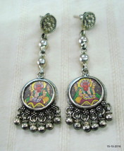 Traditional Design Sterling Silver Earrings Lord Ganesha Painting Ethnic jewelle - $97.02