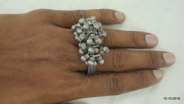 vintage antique tribal old silver double ring traditional gypsy jewelry - $158.40