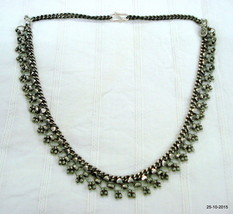 vintage antique tribal old silver necklace choker necklace belly dance jewelry - $146.52