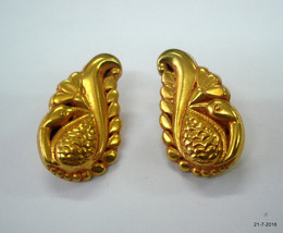 ethnic gold vermeil gold gilded gold plate silver earrings peacock design - $147.51