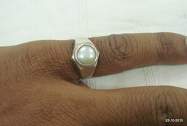 vintage antique tribal old silver ring pearl gemstone ring handmade ring - $67.32