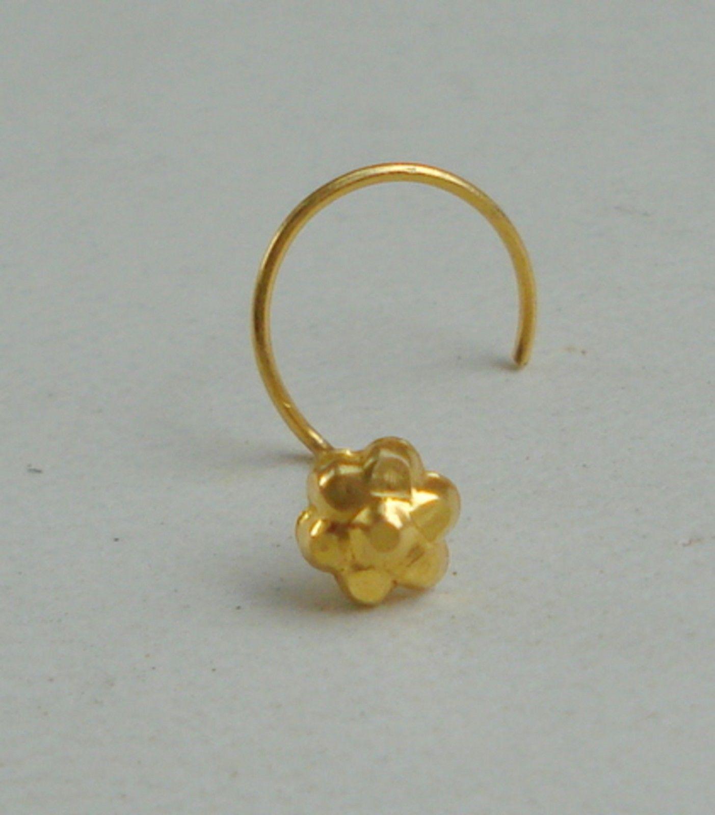 18k traditional design gold nose stud nosepin rajasthan india - $108.90