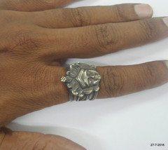 vintage antique old silver ring jain god jain tirthankar india - $146.52