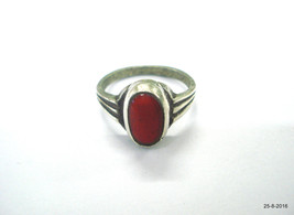 antique tribal old silver Ring Coral Gemstone vintage Moonga stone ring - $186.12