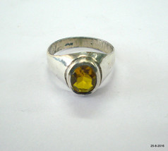 vintage antique tribal old silver Ring Citrine Gemstone Topaz stone ring - $98.01
