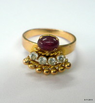 20k gold ring ruby & crystal gemstones rajasthan india - $593.01